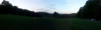 Panoramic view of the valley from the first teebox at Ashfield Community Golf Course.