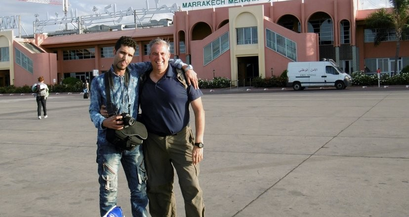 "Skip and ""Jameel"" at the Marrakech airport"